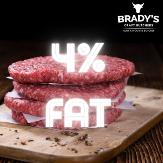 4x 4oz Lean Beef Burgers (4% Fat)